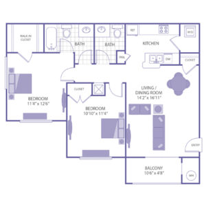 """Bedroom 11'4"""" x 12'6"""" with walk-in closet. Bedroom 10'10"""" x 11'4"""" with closet. Living/Dining room 14'2"""" x 16'11"""". 1 1/2 baths. Kitchen. Balcony. 1 closet. Washer and dryer in unit."""