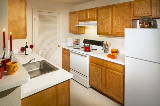 Kitchen with pantry, fridge, sink and oven